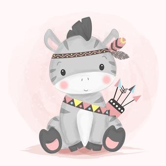 Illustrazione della zebra di stile dell'acquerello
