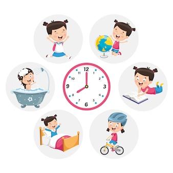 Illustrazione delle attività di routine quotidiana del bambino