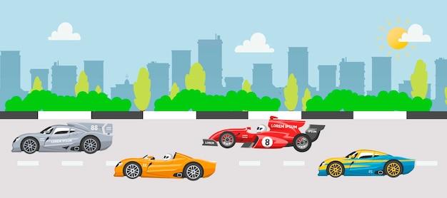 Illustrazione delle automobili di velocità di corsa di kart e di raduno su paesaggio urbano.