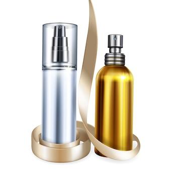 Illustrazione delle bottiglie cosmetiche e del profumo dei modelli isolati realistici 3d per la marca premio