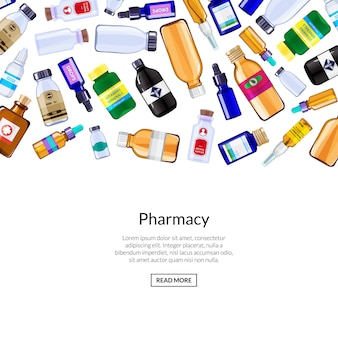 Illustrazione delle bottiglie e delle pillole della medicina della farmacia
