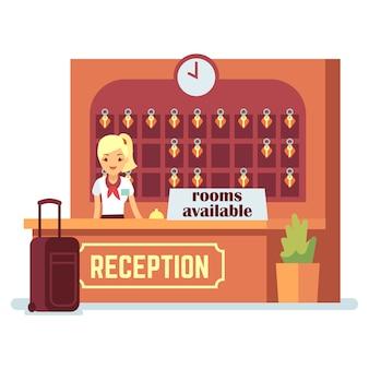 Illustrazione delle camere disponibili. ragazza del personaggio dei cartoni animati e banco del check-in in hotel o ostello