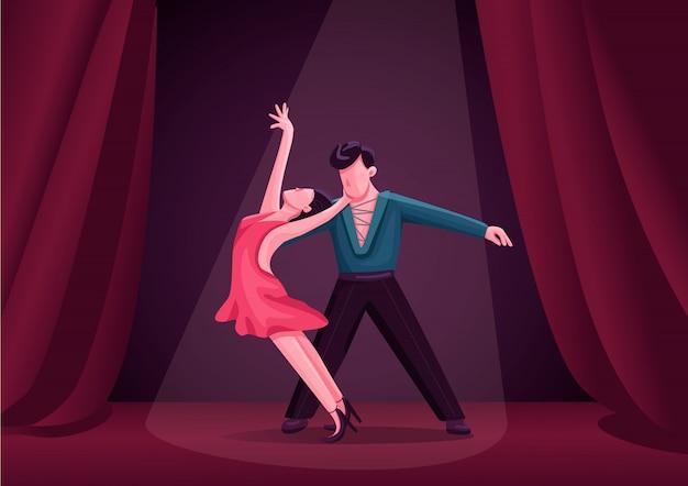 Illustrazione delle coppie dei ballerini di rumba