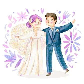 Illustrazione delle coppie di nozze dell'acquerello