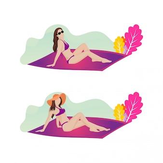 Illustrazione delle donne che prendono il sole sulla spiaggia di estate