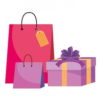 Illustrazione delle icone del sacchetto della spesa e del regalo
