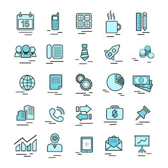 Illustrazione delle icone di affari impostate