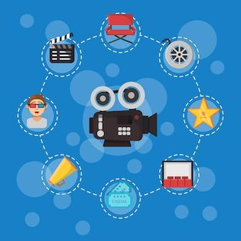 Illustrazione delle icone di cinema piatto sul blu