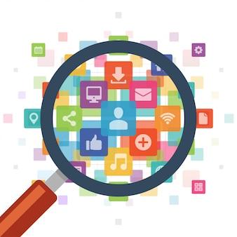 Illustrazione delle icone di media sociali dello zoom della lente d'ingrandimento