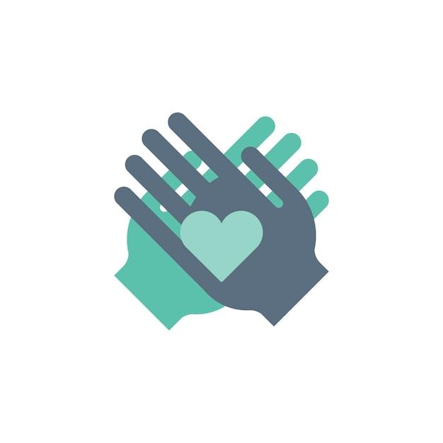 Illustrazione delle icone di supporto delle mani amiche