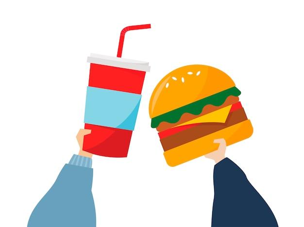 Illustrazione delle mani che tengono alimenti industriali