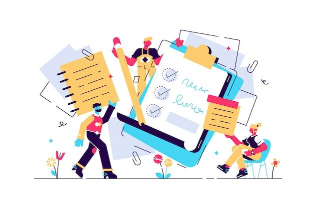 Illustrazione delle note il manuale di carta minuscolo piano scrive il concetto delle persone. fogli bianchi di cancelleria per diario, promemoria o creazione di schizzi. liste di controllo vuote, organizzatori e pagine di quaderno di informazioni pulite