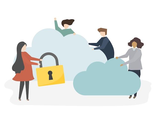 Illustrazione delle persone con la sicurezza della rete