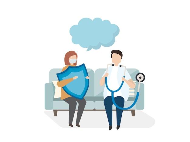 Illustrazione delle persone con servizio di assistenza medica