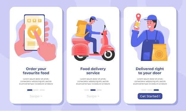 Illustrazione delle schermate di onboarding del servizio di consegna cibo