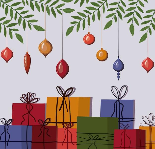 Illustrazione delle sfere e dei regali di buon natale