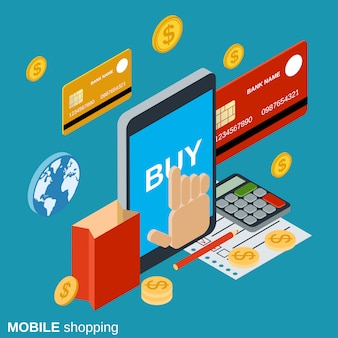 Illustrazione dello shopping mobile