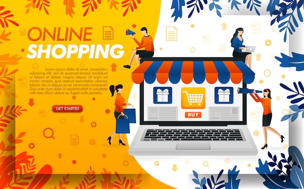 Illustrazione dello shopping online con laptop giganti e persone dello shopping