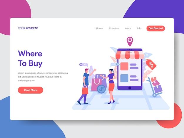 Illustrazione dello shopping online per la home page