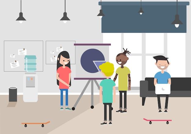 Illustrazione dello spazio di coworking. posto di lavoro, ufficio. ufficio moderno millennials al lavoro.