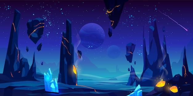 Illustrazione dello spazio, paesaggio di fantasia aliena di notte