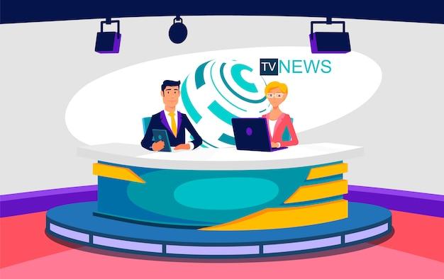 Illustrazione dello studio dello spettacolo di notizie in diretta della tv