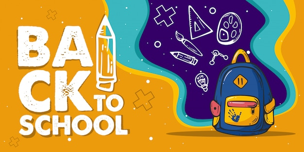 Illustrazione dello zaino back to school banner