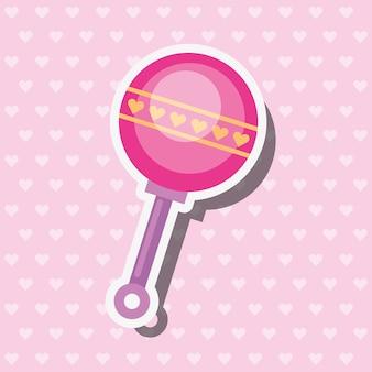 Illustrazione dentellare di vettore della decorazione dei cuori di crepitio del giocattolo