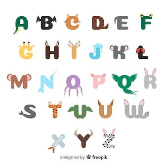 Illustrazione design piatto dell'alfabeto animale