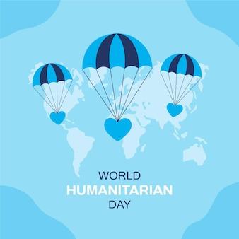 Illustrazione design piatto dell'evento giornata umanitaria mondiale