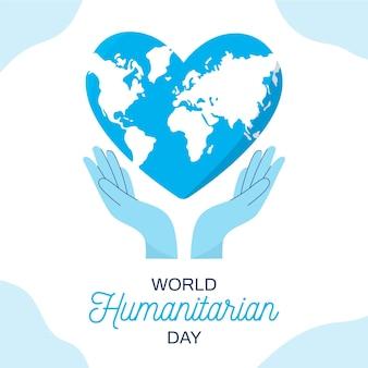 Illustrazione design piatto della giornata umanitaria mondiale