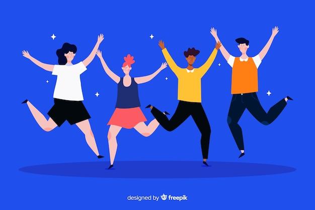 Illustrazione design piatto di giovani che saltano