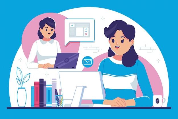 Illustrazione design piatto di lavoro a distanza