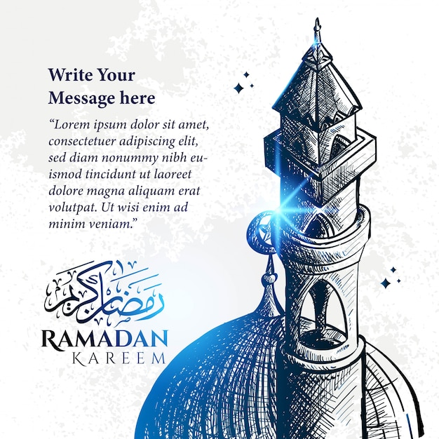 Illustrazione dettagliata di schizzo della torre della moschea nel colore blu per ramadan kareem con fondo e testo.