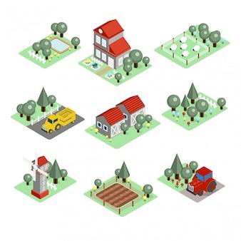 Illustrazione dettagliata di un'azienda agricola isometrica