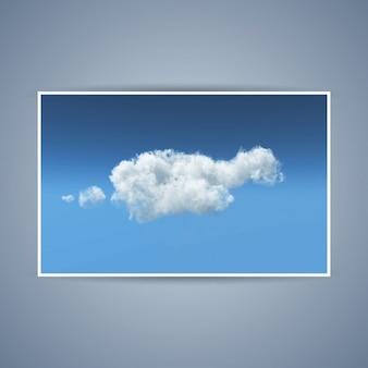 Illustrazione dettagliata di una nuvola bianca pennuto