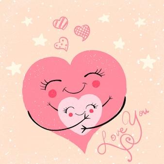 Illustrazione di abbracci carino divertente cartone animato