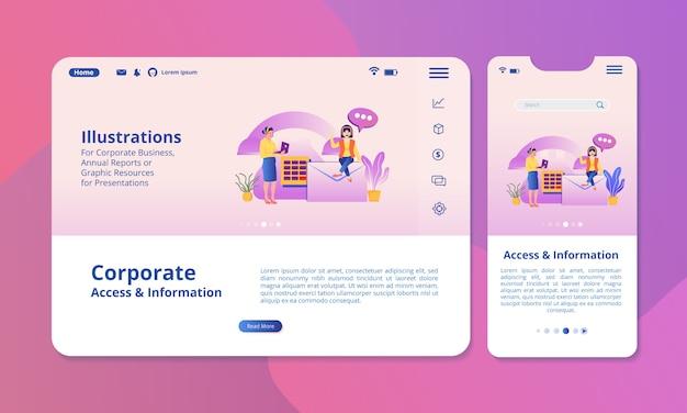 Illustrazione di accesso e informazioni sullo schermo per display web o mobile.