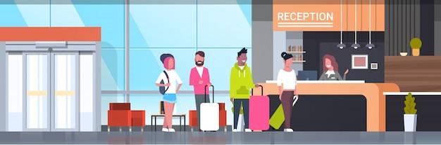 Illustrazione di accoglienza con i viaggiatori
