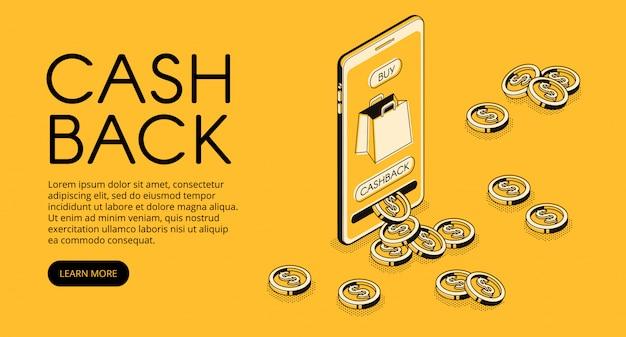 Illustrazione di acquisto cashback, ricompensa denaro contante per l'acquisto da un'applicazione per smartphone