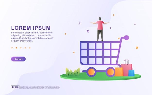 Illustrazione di acquisto online e del commercio elettronico con le icone del carrello e dei sacchetti della spesa
