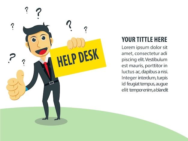Illustrazione di affari uomo d'affari come help desk.