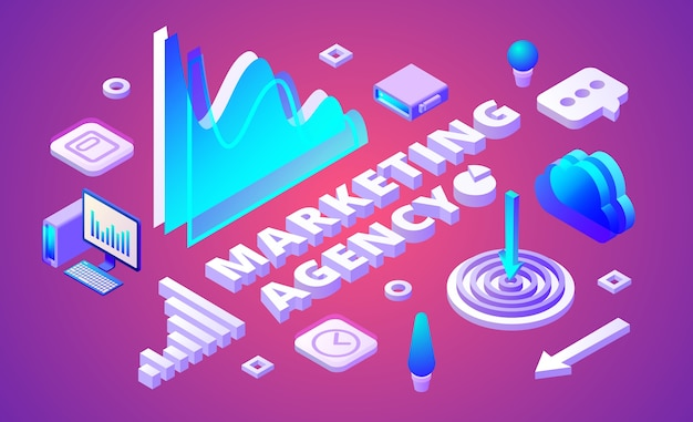 Illustrazione di agenzia di marketing di ricerche di mercato e simboli di business