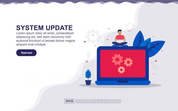 Illustrazione di aggiornamento del sistema e sistema di manutenzione con persone minuscole. illustrazione per landing page, contenuti sui social media, pubblicità.