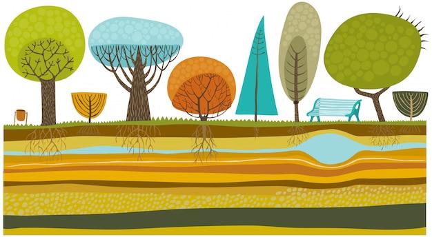 Illustrazione di alberi del parco