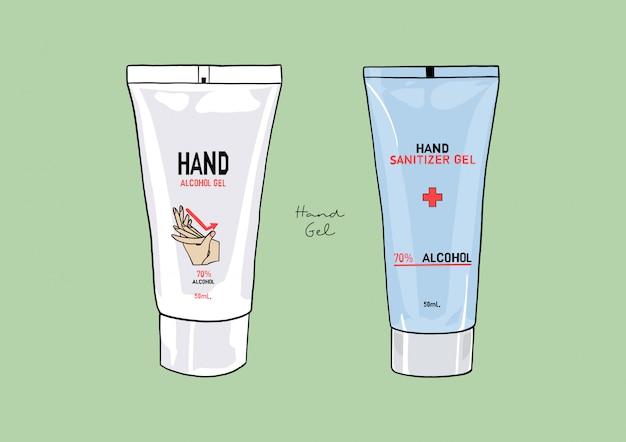 Illustrazione di alcol disinfettante per le mani gel