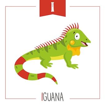 Illustrazione di alfabeto lettera i e iguana