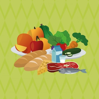 Illustrazione di alimenti sani, alimenti e nutrizione correlati