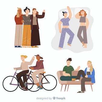 Illustrazione di amici che trascorrono del tempo insieme