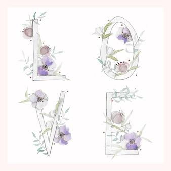 Illustrazione di amore acquerello con fiori e foglie